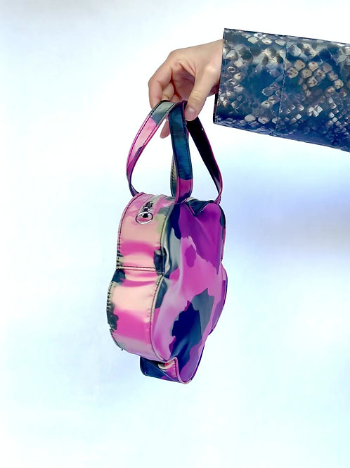 Holographic Pink Cow Flower Handbag