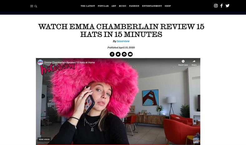 Interview Magazine - Emma Chamberlain