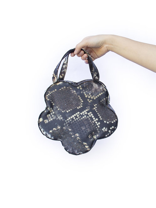 Holographic Brown Python Flower Handbag
