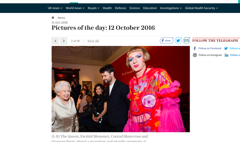 Telegraph- Grayson Perry at RA with Queen Elizabeth