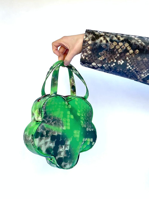 Holographic Green Python Flower Handbag