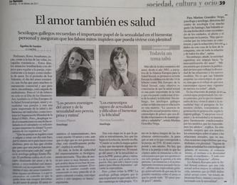 El amor también es bueno para la salud (Faro de Vigo y La Razón)