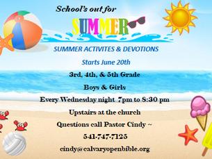 Summer Activities and Devotions