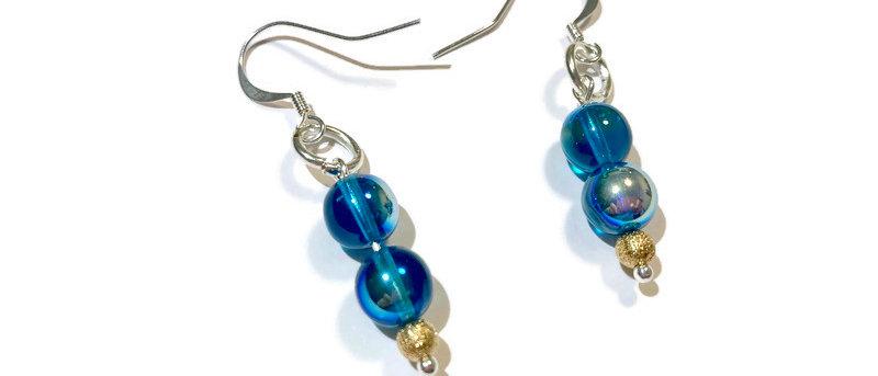blue fire polished bead earrings