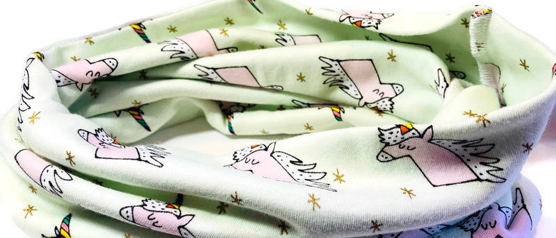 pale green unicorns neck scarf