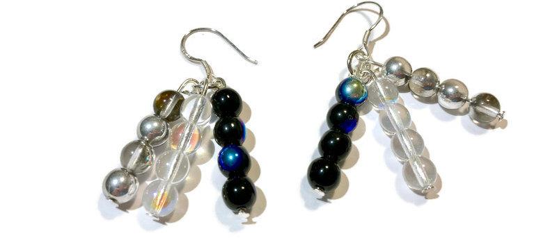 silver / black / clear fire polished bead earrings