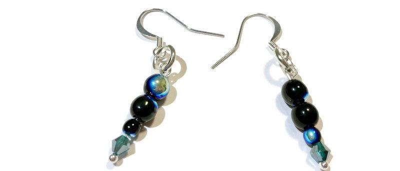 blue/black fire polished bead earrings