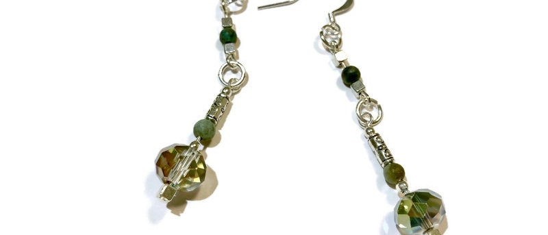 silver crystal and natural jade bead statement earrings