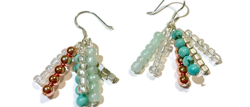 copper, blue and white cluster bead earrings