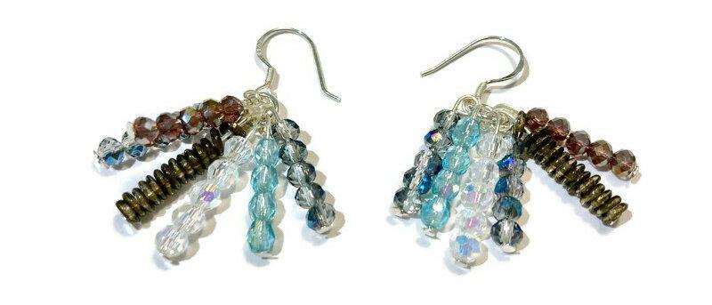 blue, brown and purple bead earrings