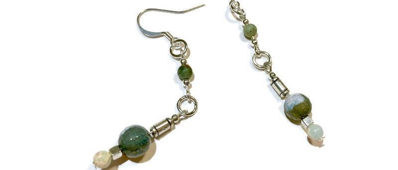 green agate bead statement earrings