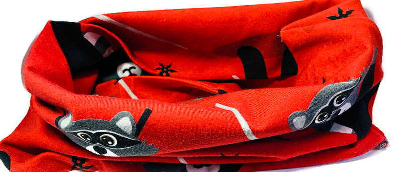red racoons neck scarf