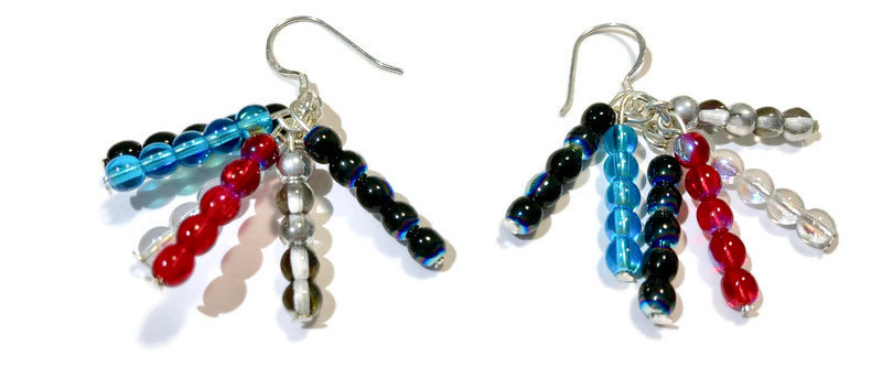 red, white and blue bead earrings