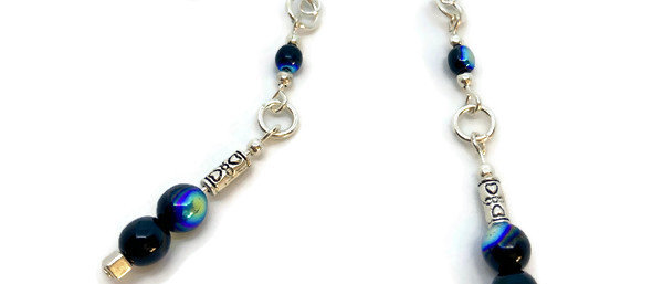 blue/black fire polished bead statement earrings