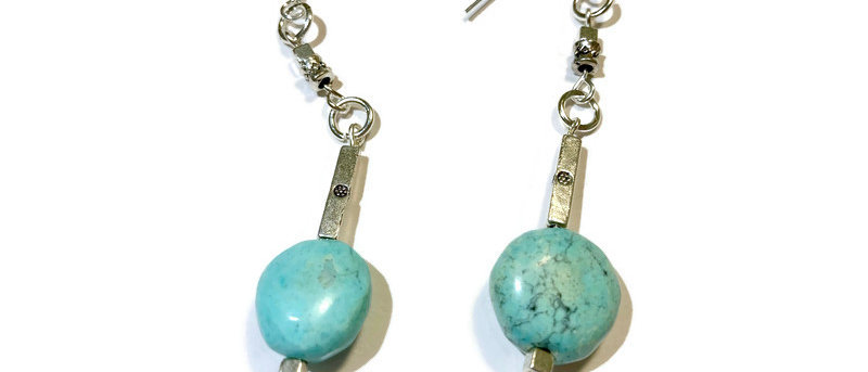 large turquoise bead statement earrings