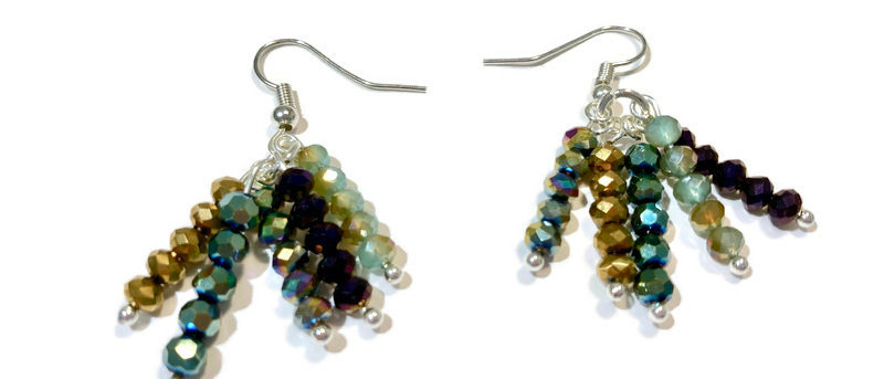 green and gold crystal bead earrings