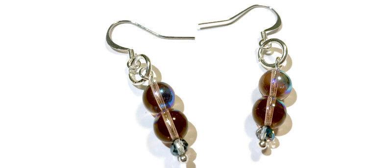 purple fire polished bead earrings