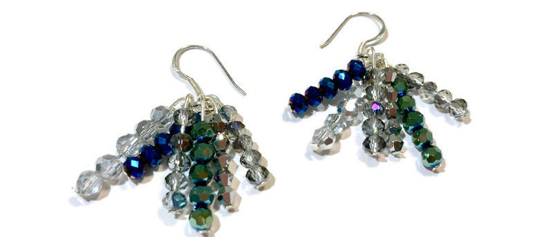 blue, green and silver crystal bead earrings