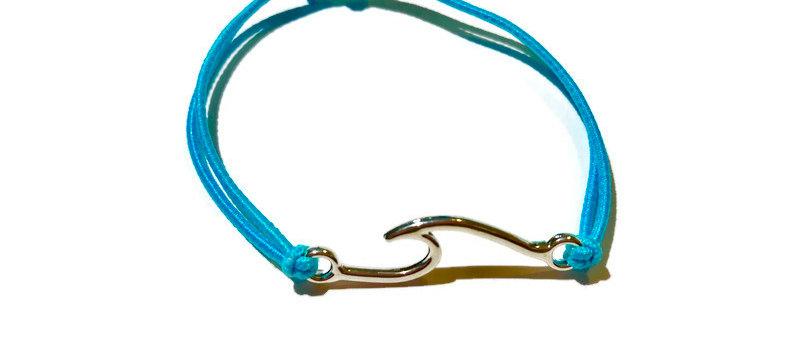 wide surf wave elastic bracelet - large