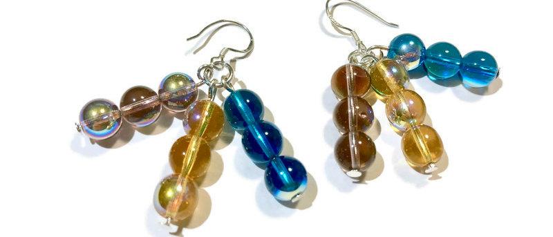 blue/gold/purple fire polished bead earrings