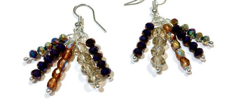 purple and amber crystal bead earrings