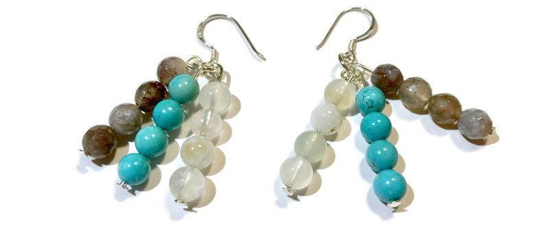grey/white/blue semi-precious bead earrings