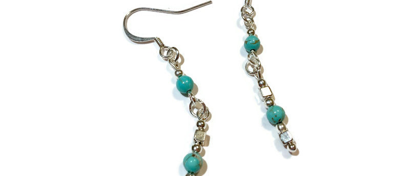 natural turquoise bead statement earrings