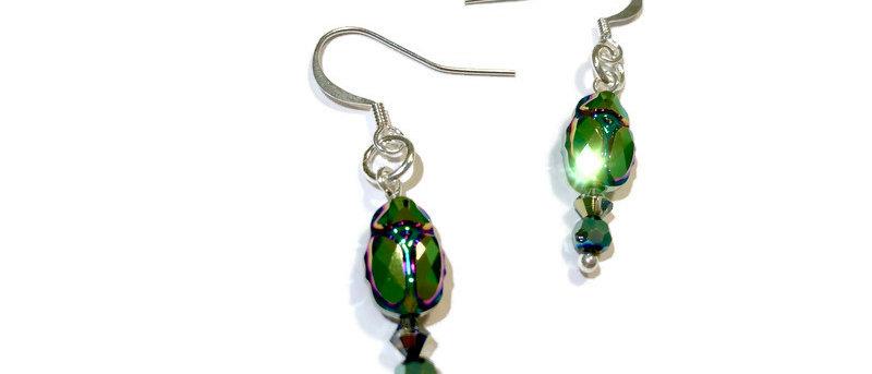 Swarovski blue/green crystal 'beetle' earrings