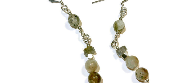 brown agate and labradorite bead statement earrings
