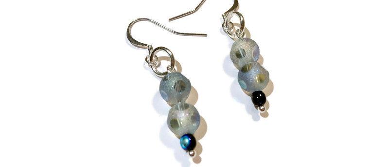 blue iridescent polka dot bead earrings