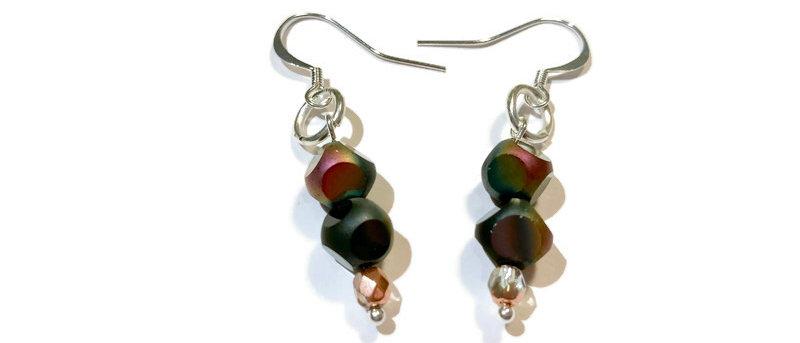 black / purple iridescent polka dot bead earrings