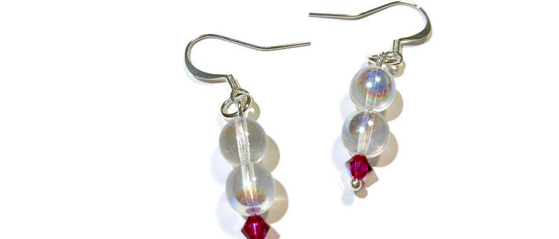 clear iridescent bead and pink Swarovski crystal earrings