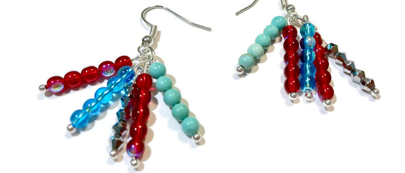 red, silver and blue cluster bead earrings