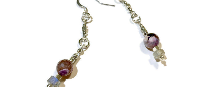 pink agate and labradorite bead statement earrings