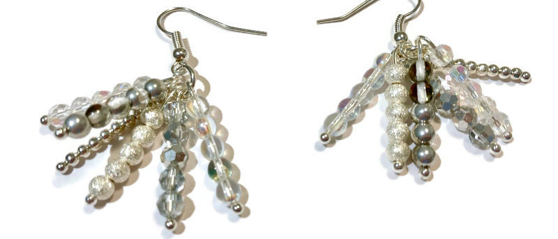 silver and white sparkle bead earrings