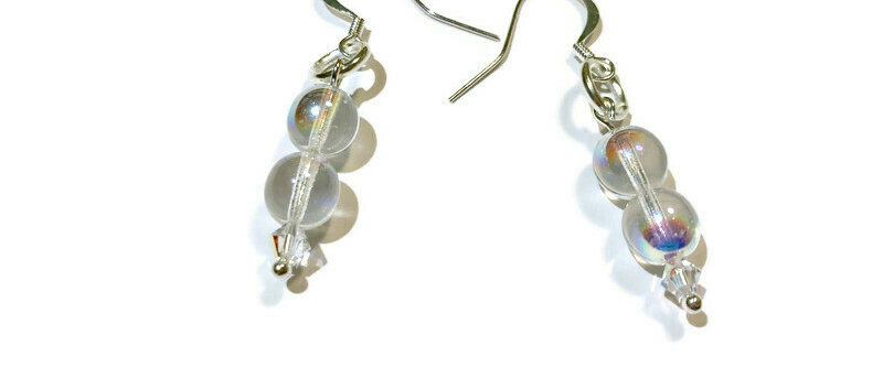 clear iridescent bead and white Swarovski crystal earrings