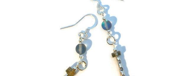 labradorite bead statement earrings