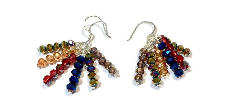 multicoloured crystal bead earrings
