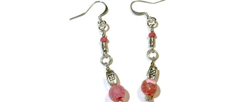 pink agate bead statement earrings