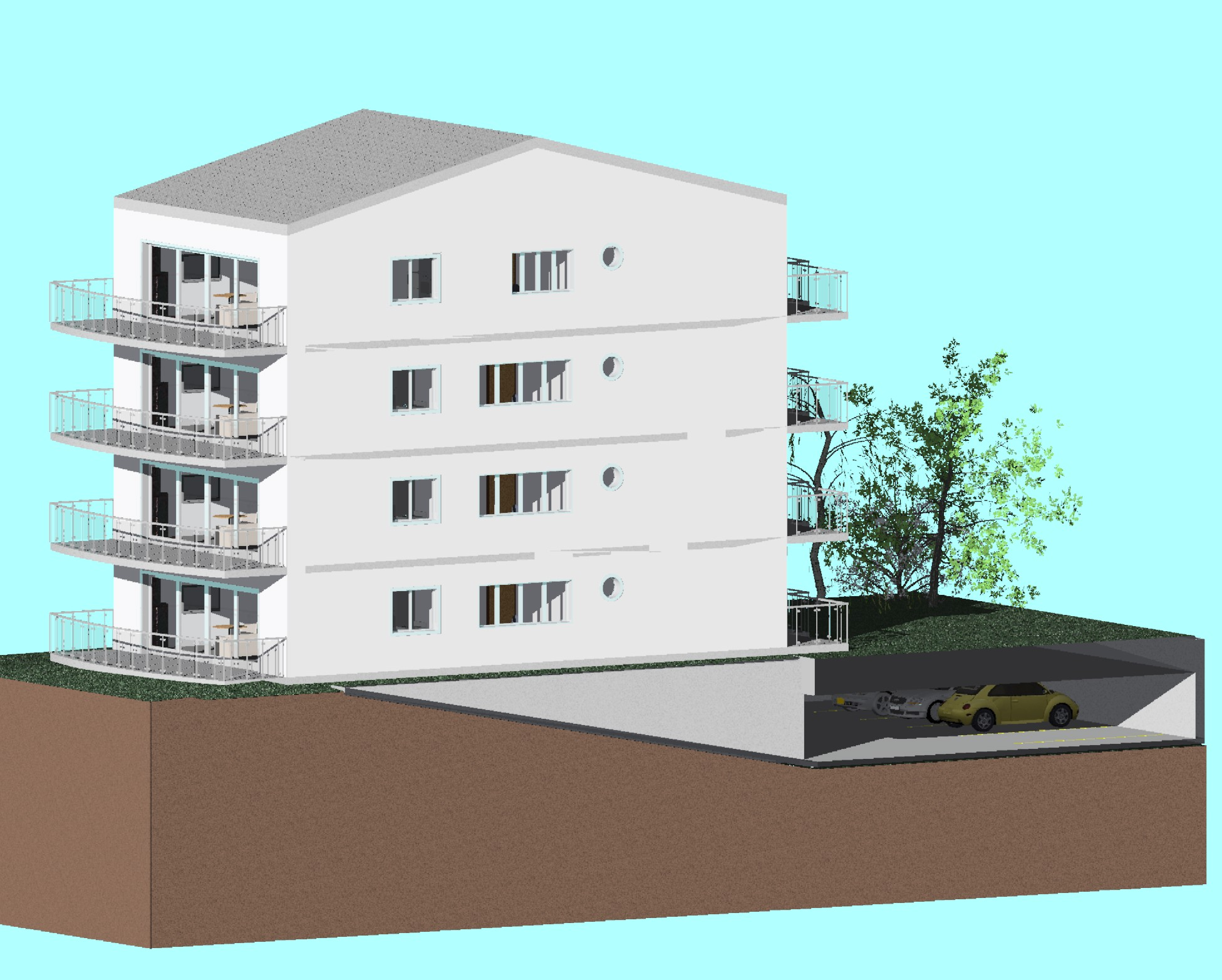 Appartment building with parking lot