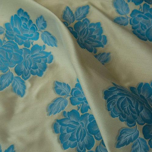Blue Beige Floral Brocart
