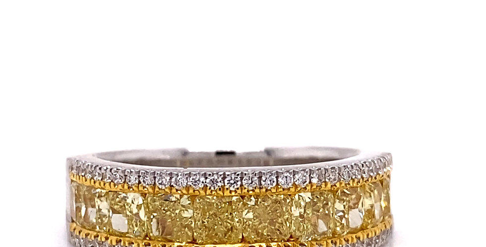 Fancy Yellow Cushion Diamond Anniversary Band