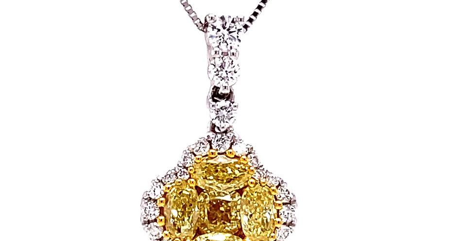 Fancy Yellow Diamond Clover  Pendant