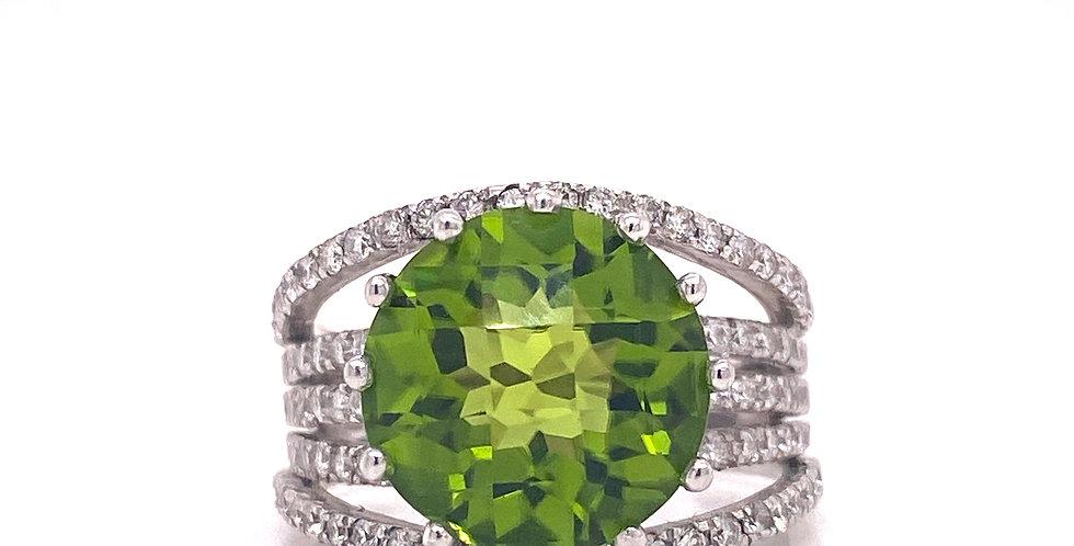 Multi Row Diamond & Peridot Statement Ring