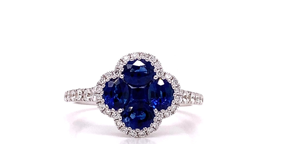 Sapphire & Diamond Clover Ring