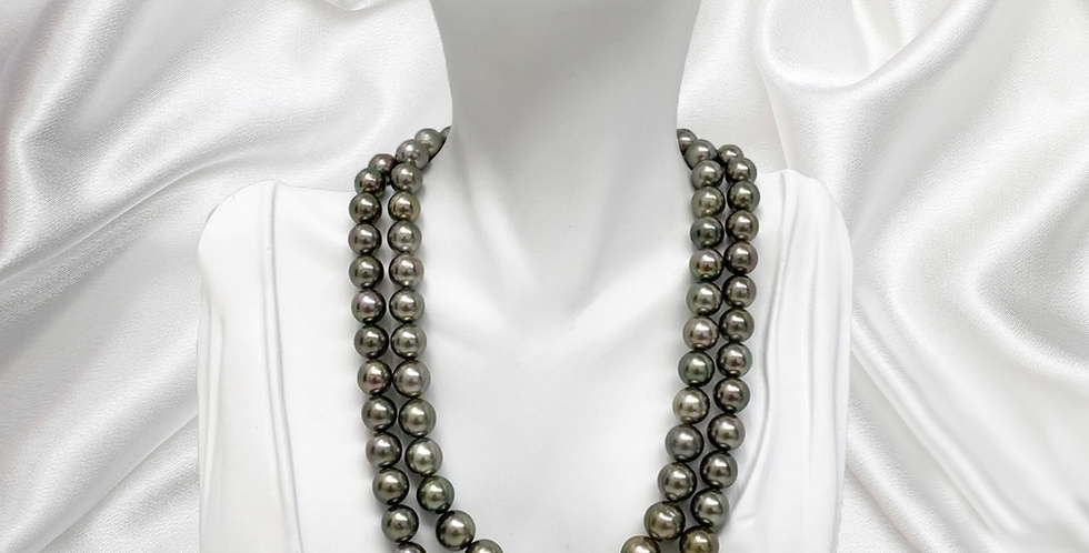 Tahitian Silver Green Double-Strand Pearl Necklace