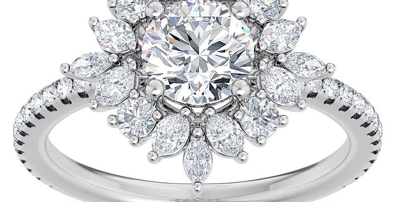 Starburst Floral Diamond Halo Engagement Ring