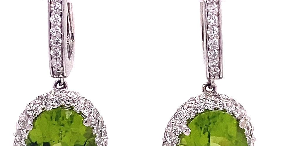 Oval Peridot & Diamond Halo Drop Earrings