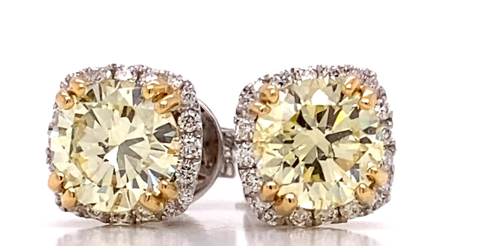 Fancy Yellow Halo Diamond Stud Earrings