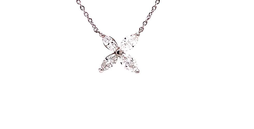 Marquise Diamond Flower Pendant